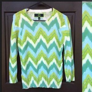 C. WONDER Chevron Blurred Green Teal White Sweater